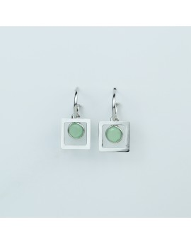 Pendientes Combi Piedra Verde Cuadrado Blanco