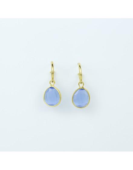 Pendientes Piedra Azul 10x9mm Amarillo