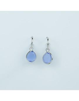 Pendientes Piedra Azul 10x9mm Blanco