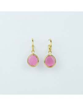 Pendientes Piedra Rosa 10x9mm Amarillo
