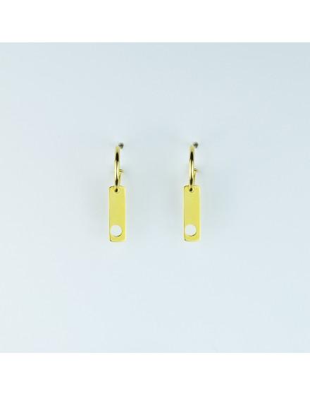 Pendientes placa pequeña circulo amarillos