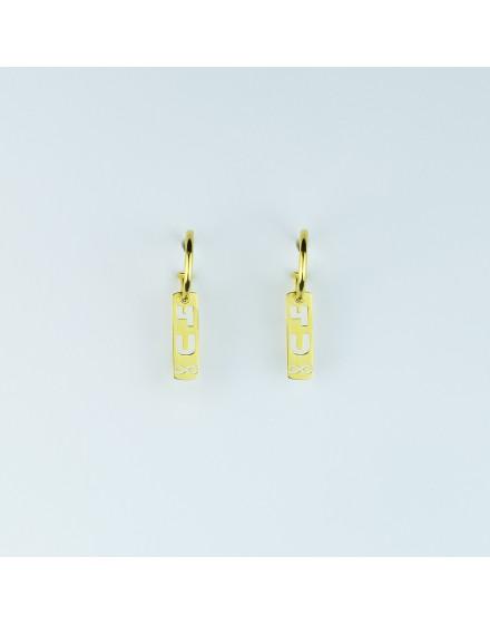 Pendientes placa pequeña For You Infinito amarillos